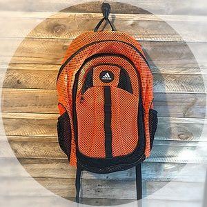 Adidas bright orange mesh backpack